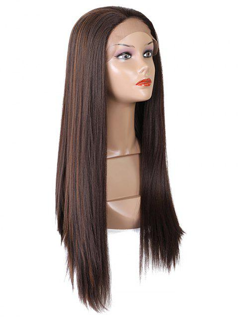 Free Part Straight Long Synthetic Fiber Lace Front Wig - PUCE