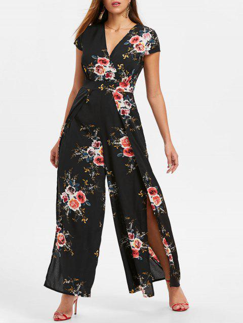 Floral Print Short Sleeve Jumpsuit - BLACK S