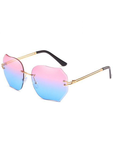 Anti UV Faux Pearl Inlay Irregular Lens Sunglasses - POWDER BLUE