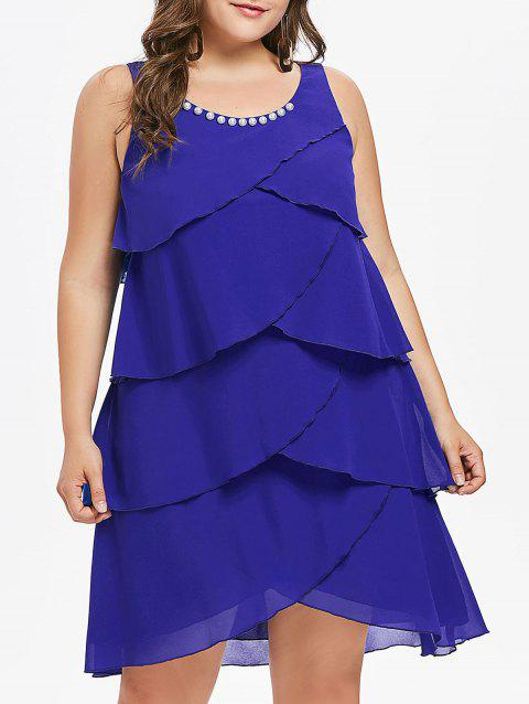 Plus Size Sleeveless Overlap Tiered Dress - BLUE 3X