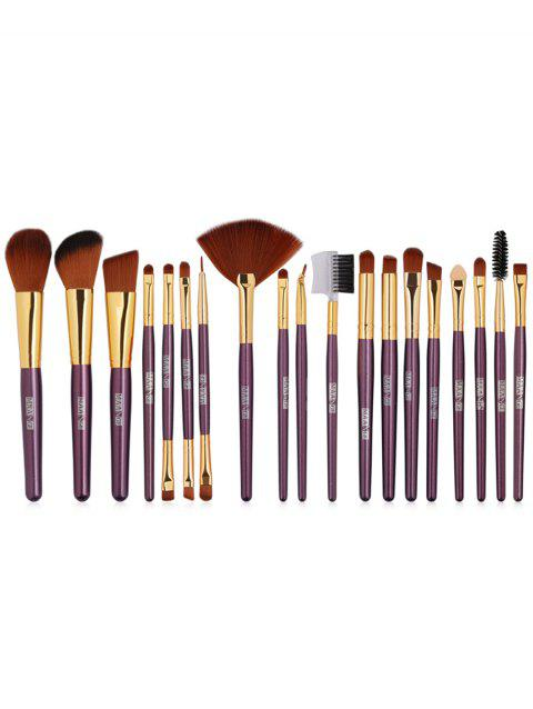 Set of 19Pcs Synthetic Fiber Hair Ultra Soft Foundation Fan Eyeshadow Lip Brush Set - PURPLE