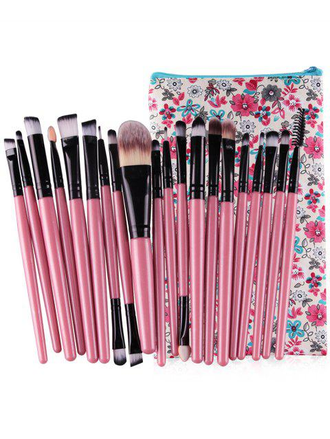 20Pcs Ultra Soft Foundation Eyebrow Eyeshadow Cosmetic  Brush Set with Travel Bag - PINK