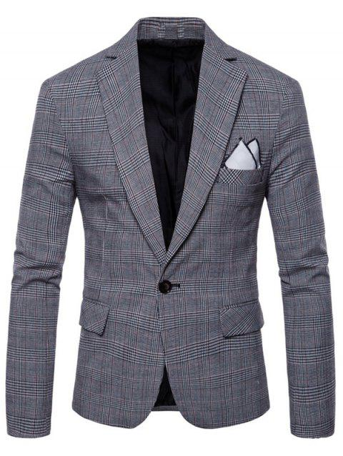 Blazer à Carreau Bordure de Revers - Gris Clair S
