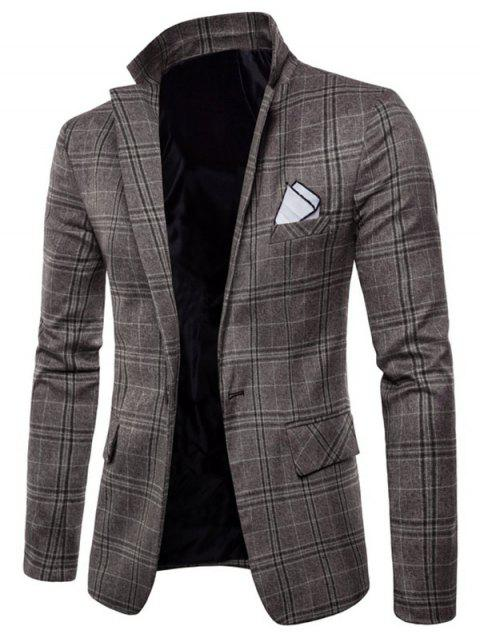 Check Lapel Edging Casual Blazer - COFFEE S