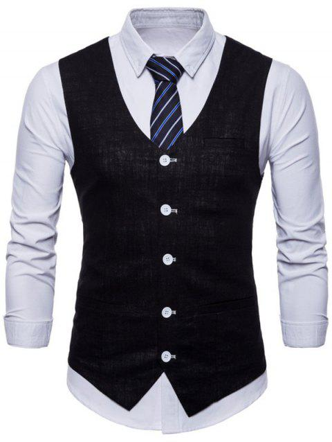 V Neck Single Breasted Casual Waistcoat - BLACK XS