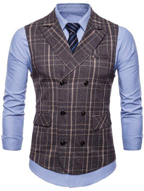 Turn Down Collar Double Breasted Plaid Waistcoat - COFFEE L