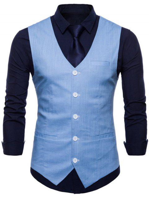 V Neck Single Breasted Casual Waistcoat - LIGHT SKY BLUE S