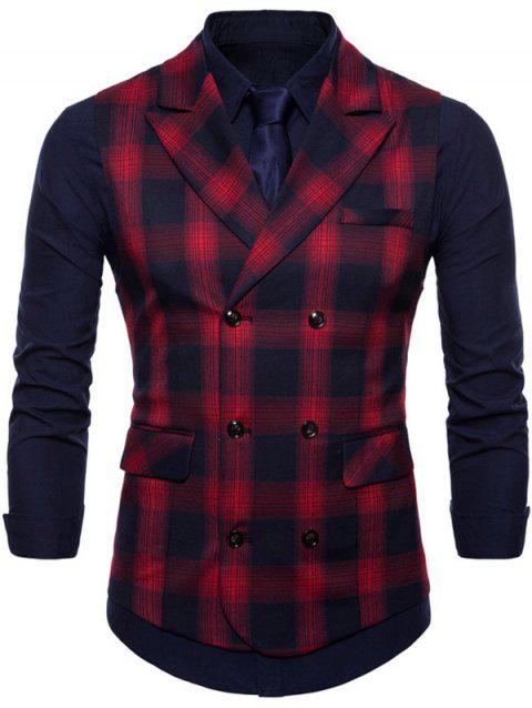 Check Double Breasted Edging Waistcoat - RED M