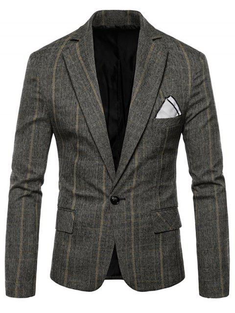 Plaid Edging One Button Blazer - GRAY L