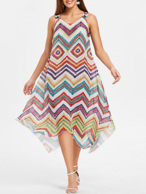Asymmetrical Zigzag Scoop Neck Dress - multicolor L