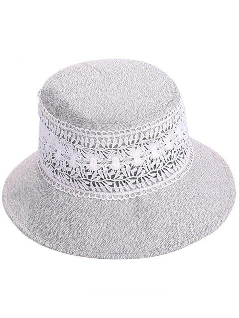 UV Protection Wide Brim Lace Bucket Hat - GRAY CLOUD