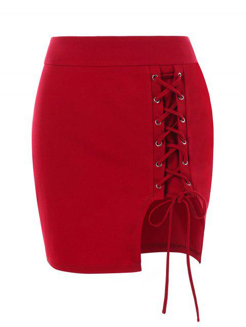 Lace-up Mini Skirt - RED L
