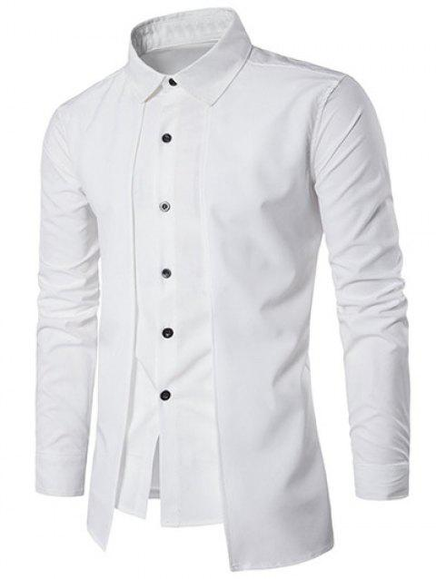 Layered High Low Hem Shirt - WHITE 2XL