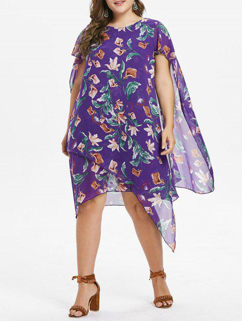 Plus Size Floral Asymmetrical Dress - PURPLE AMETHYST 2X