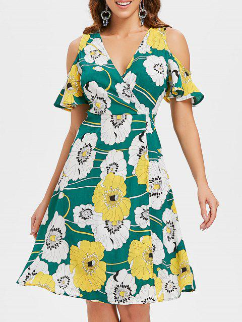 Open Shoulder Floral Surplice Dress - GREEN XL