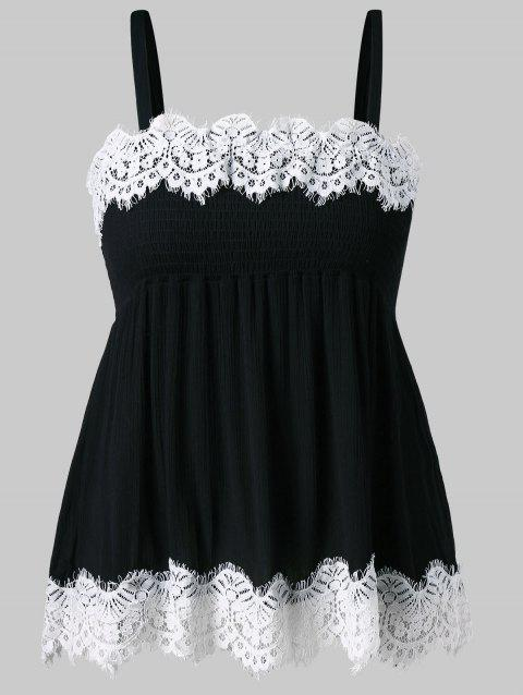 Plus Size Smocked Lace Panel Scalloped Tank Top - BLACK 1X