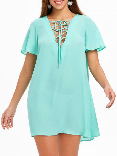 Short Sleeve Lace Up Dress - MACAW BLUE GREEN 2XL