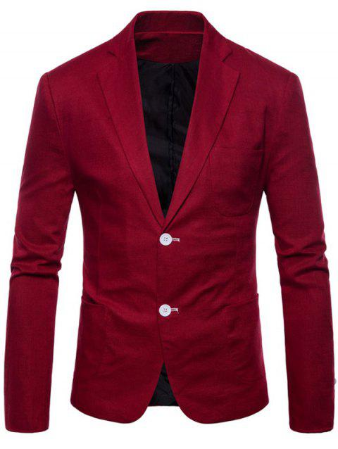 Lapel Single Breasted Solid Color Blazer - RED WINE XS
