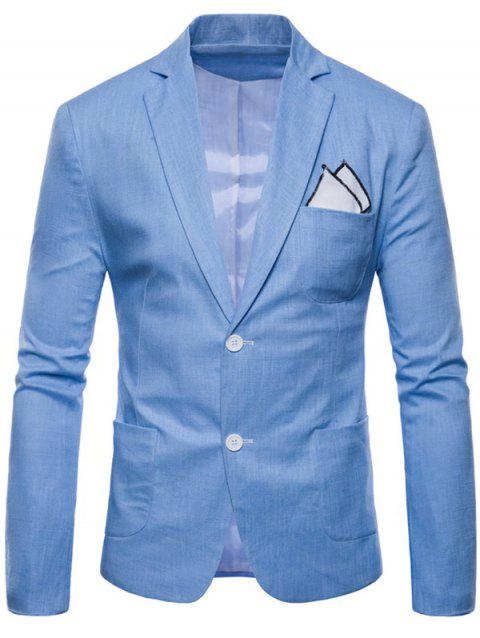 Lapel Single Breasted Solid Color Blazer - SKY BLUE M