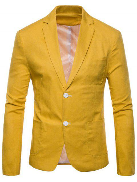 Lapel Single Breasted Solid Color Blazer - YELLOW XS