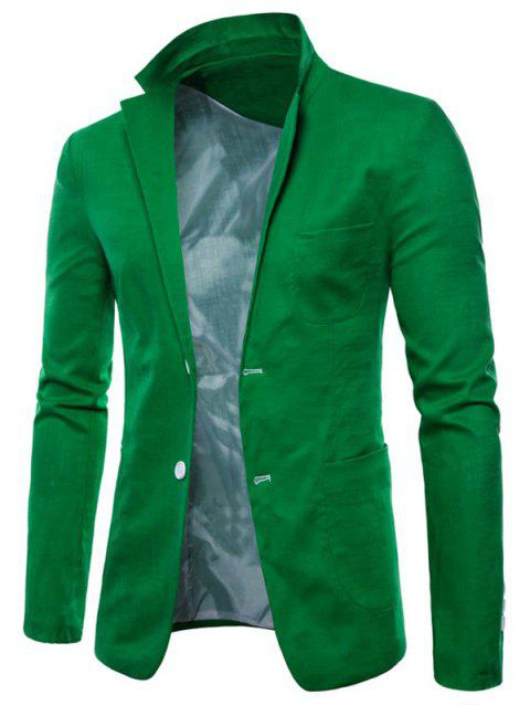 Lapel Single Breasted Solid Color Blazer - GREEN APPLE S