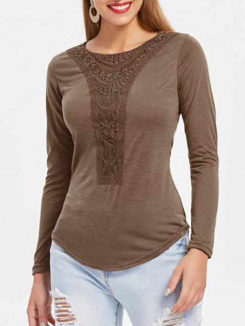 Concise Scoop Neck Hollow Out Crochet Spliced Solid Color T-Shirt For Women - COFFEE S