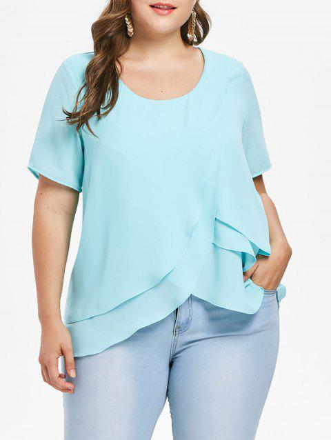 Plus Size Layered Ruffle Chiffon Blouse - LIGHT SLATE 2X