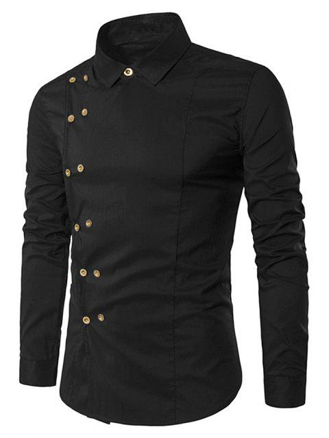 Double-breasted Placket Stitch Embellished Shirt - BLACK XL
