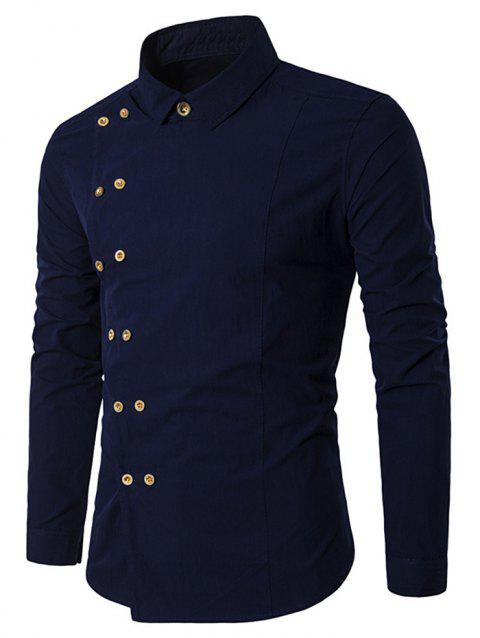 Double-breasted Placket Stitch Embellished Shirt - CADETBLUE L
