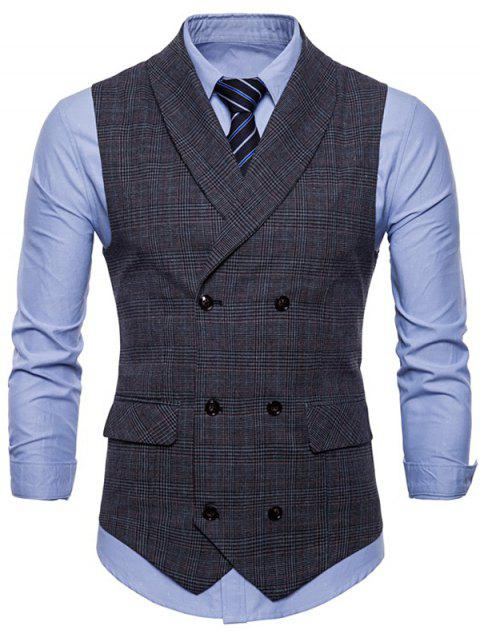 Turn Down Collar Check Casual Waistcoat - DARK GRAY L