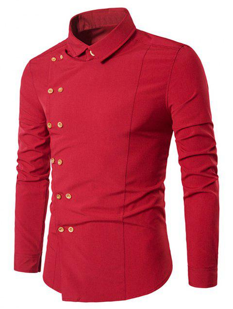 Double-breasted Button Embellished Shirt - RED L