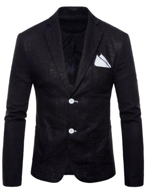 Lapel Single Breasted Solid Color Blazer - BLACK XS