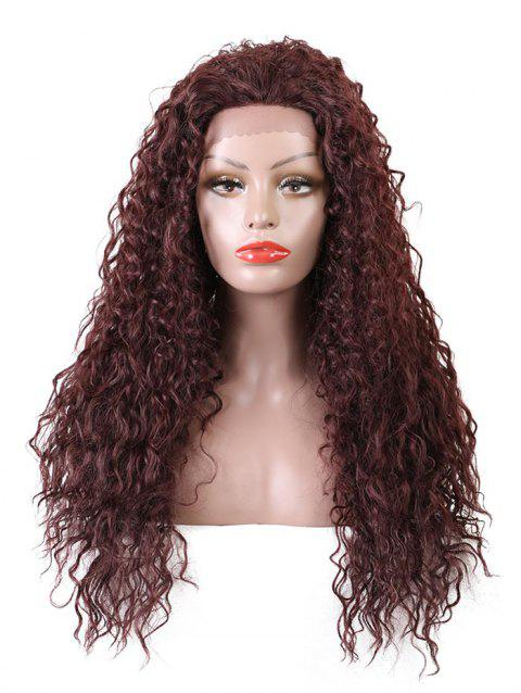 Long Free Part Water Wave Party Synthetic Lace Front Wig - RED WINE