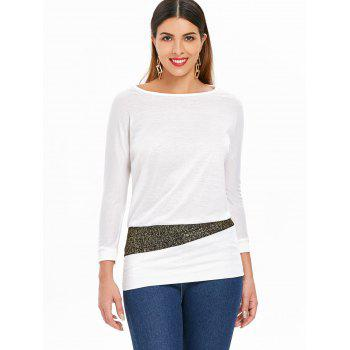 Sequin Embellished Packet Buttock Cotton Blend T-Shirt - WHITE ONE SIZE