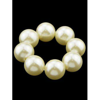 Faux Pearl Beaded Elastic Hair Band - WHITE