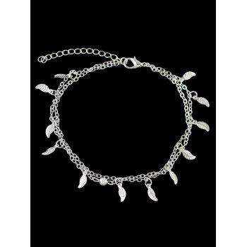 Leaves Decoration Layered Chain Anklet - SILVER