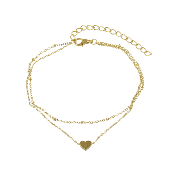 Heart Shaped Layered Chain Anklet - GOLD