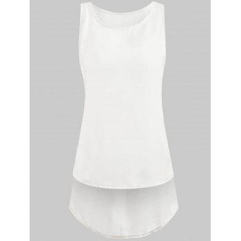 Stylish Sleeveless Scoop Neck Women's Chiffon Tank Top - WHITE S