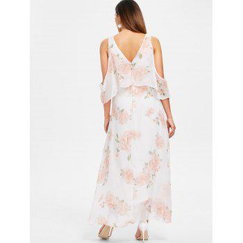 Floral Print Chiffon Maxi Dress - WHITE S