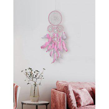 5 Circle Feather Beads Handmade Dream Catcher Home Decoration - PIG PINK 58*16