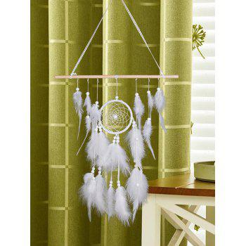 Feather Bead Decorated Wall Hanging Art Dreamcather - WHITE 75*40CM