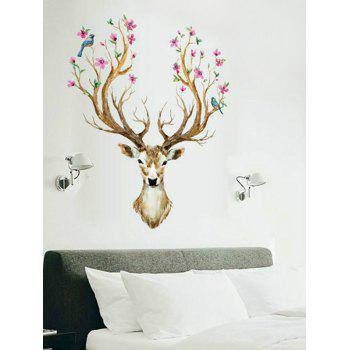 3D Sika Deer Print Removable Wall Sticker - multicolor