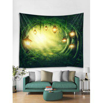 Forest Path Lamp Print Tapestry Wall Art - FOREST GREEN W91 INCH * L71 INCH