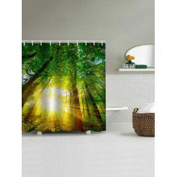 Forest Sunshine Print Waterproof Shower Curtain - FOREST GREEN W59 INCH * L71 INCH