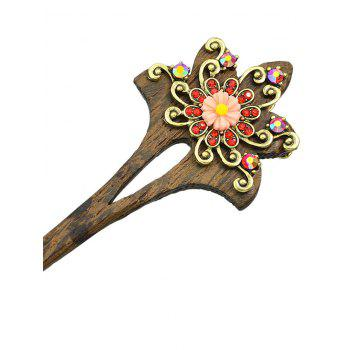 Hollow Out Wooden Lotus Hairpins - RED