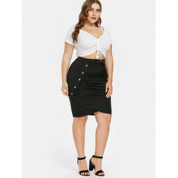 Plus Size Rivet Embellished Tulip Skirt - BLACK 4X