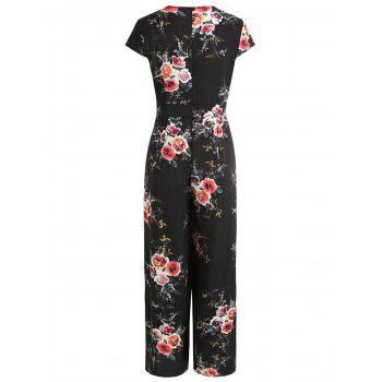 Floral Print Short Sleeve Jumpsuit - BLACK XL