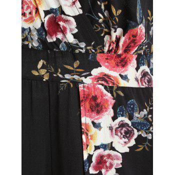 Floral Print Short Sleeve Jumpsuit - BLACK M