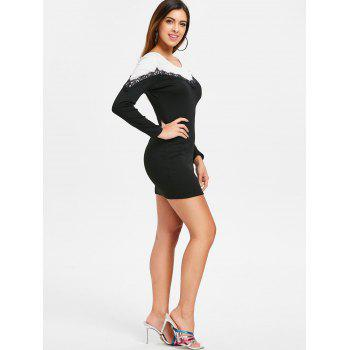 Lace Panel Long Sleeve Bodycon Dress - BLACK L
