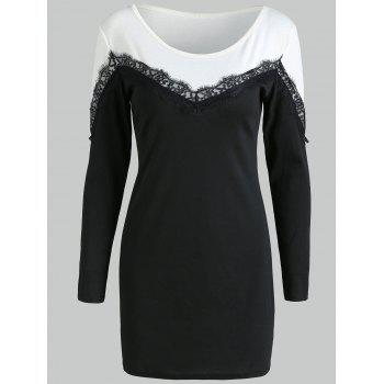Lace Panel Long Sleeve Bodycon Dress - BLACK 2XL